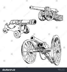 old cars drawings old cannons drawings set on white stock vector 172845893