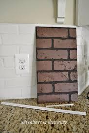 faux brick backsplash on custom kitchen shelves diy studrep co