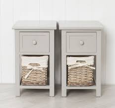 pair of shabby chic grey bedside units tables drawers with wicker