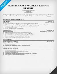 Child Care Worker Resume Template Maintenance Worker Resume Sample Resumecompanion Com Resume