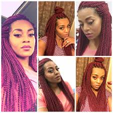 pronto braids hairstyles burgundy freetress medium box braids in color 530 crochet