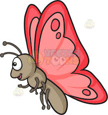 a happy butterfly with red wings cartoon clipart vector toons