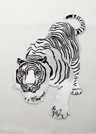 white tiger large embroidered iron on sew on back patch