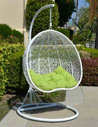 Rattan Swinging Chair White Lime Egg Shape Wicker Rattan Swing Chair Hanging Hammock 2