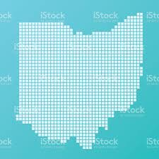 Ohio Usa Map by Ohio Map Basic Square Pattern Turquoise Stock Vector Art 508126440