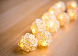 rattan ball fairy lights solar string lights warm white decornova