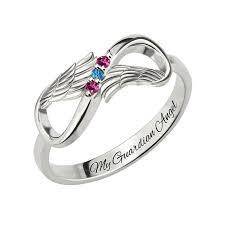 rings with birthstones and names angel wings infinity birthstone ring free engravings