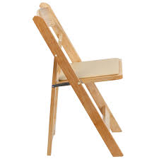 Wood Folding Chairs Hercules Series Natural Wood Folding Chair With Vinyl Padded Seat