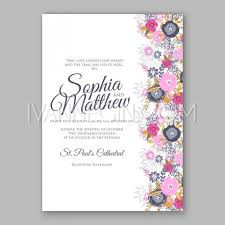 wedding invitation card template with magenta and navy blue rose