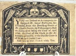 funeral invitation 17th century funeral invitation for sale