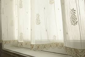 Lace Trim Curtains Heritage Pineapple Crushed Sheer Curtains With Crocheted Lace Trim