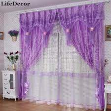 Purple Bedroom Curtains Small Quality Finished Production Lace Curtain