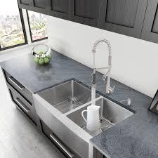 33 inch farmhouse kitchen sink alma 33 inch farmhouse apron 60 40 double bowl 16 gauge stainless