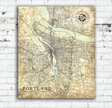 portland or canvas print oregon vintage map portland or city