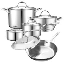 Stainless Stee Cooks Standard Tri Ply Clad Stainless Steel 10 Piece Cookware Set
