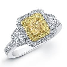 yellow engagement rings 18k white and yellow gold fancy yellow diamond rin