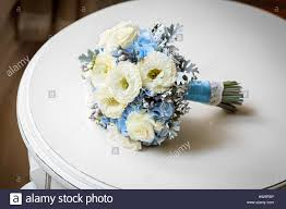 wedding bouquet of flowers on table stock photo royalty free