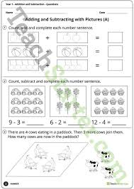 number worksheets addition and subtraction year 1 teaching
