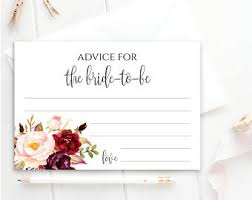 Advice Cards For Bride Bridal Shower Advice Cards Advice For The Bride To Be Fill