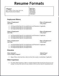 Format Resume Template Employment History Template Sample First Resume Employment