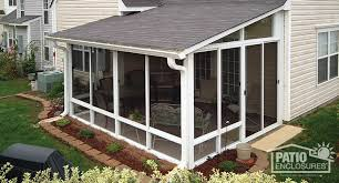 Screened In Porch Decor White Aluminum Frame Screen Room With Single Slope Roof Sunroom