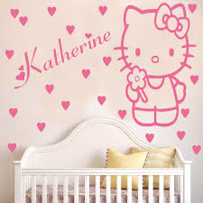 hello kitty wall sticker decal with hearts and personalised