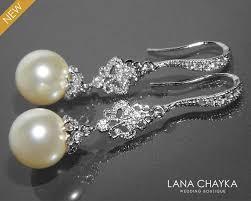 Chandelier Pearl Earrings For Wedding Bridal Pearl Chandelier Earrings Swarovski 10mm Ivory Pearl Silver