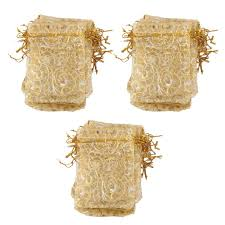Wedding Gift Bags Imported 100pcs Golden Eyelash Organza Bag Wedding Gift Bag 9x12cm