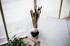 Interior Painting Tools Creative Artist U0027s Workspace Artistic Paint Brushes And Paper
