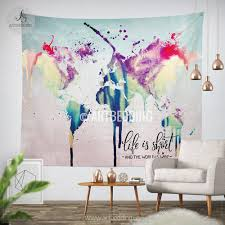 Watercolor Wallpaper For Walls by World Map Abstract Watercolor Wall Tapestry Grunge World Map Wall