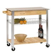 new kitchen trolley rolling cart wood steel legs 2 storage drawer