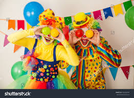 two cheerful clowns birthday children bright stock photo two cheerful clowns birthday children bright stock photo 742263676