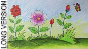 scenery drawings for kids how to draw a scenery with flowers for