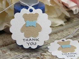 teddy bear thank you tags small baby shower favor tags boy