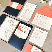 wedding invitations navy navy coral and gold wedding invitations navy and coral