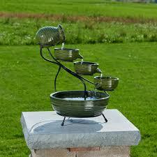 Ceramic Garden Spheres Smart Solar Fountains Outdoor Decor The Home Depot