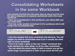 consolidate consolidate multiple worksheets to a single sheet in