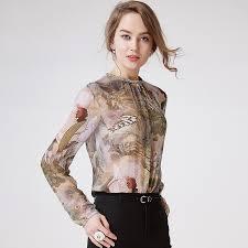 womens silk blouses 100 silk blouse shirt printed simple design sleeves