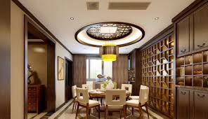 3d rendering chinese ceilings and walls for the dining room 3d house