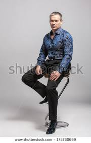 High Chair That Sits On Chair Fashion Man Model Dressed Casual Stock Photo 216624820