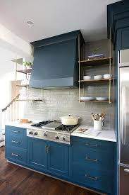 Kitchen Cabinet Shelf Hardware by Blue Kitchen Cabinets With Wood And Brass Shelves Contemporary