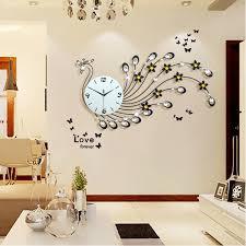 large peacock wall clock modern design living room wall watch iron