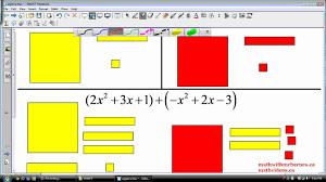 adding polynomials using algebra tiles youtube