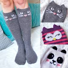 check meowt cat owl and panda knee high animal socks