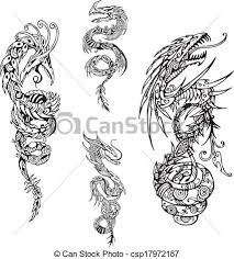 vector of stylized dragon spiral tattoos set of black and white