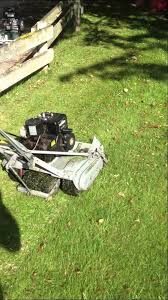 mowing with the craftsman 7 blade reel mower made by mclane