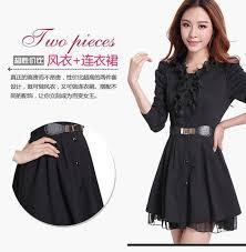 Womens Winter Coats Plus Size Autumn Winter Trench Coat Women Plus Size Black Lace Dress Coat