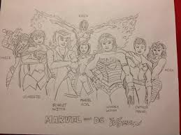 decided to make a drawing of my favorite female superheroes marvel