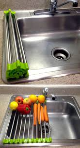 stainless steel over the sink drying rack rolls up for easy