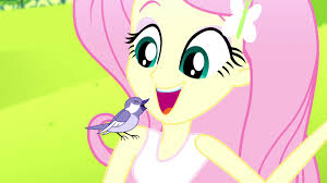 image fluttershy with a singing bird on her shoulder ss14 png